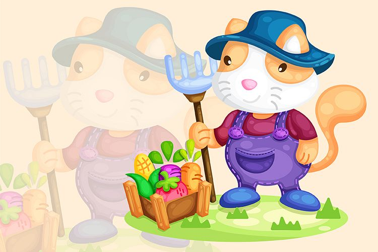 cute cat farmer harvesting vegetable illustration example image 1