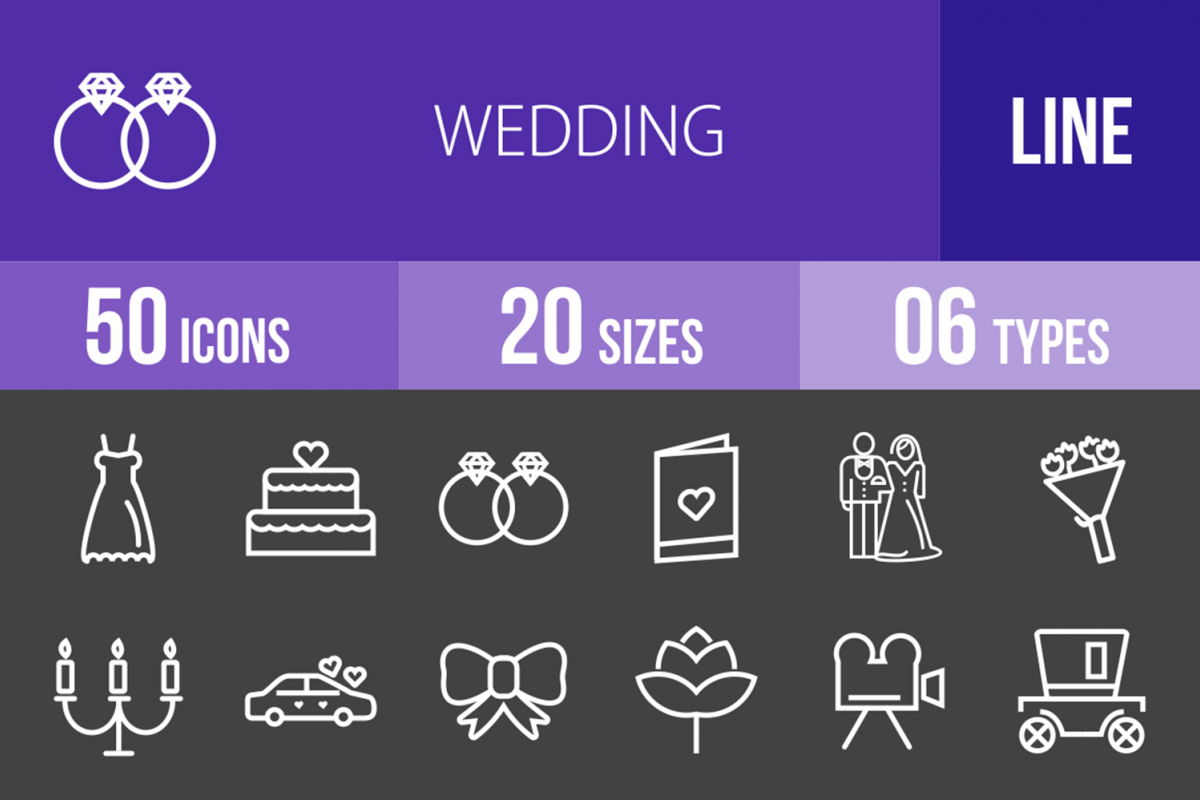 50 Wedding Line Inverted Icons example image 1