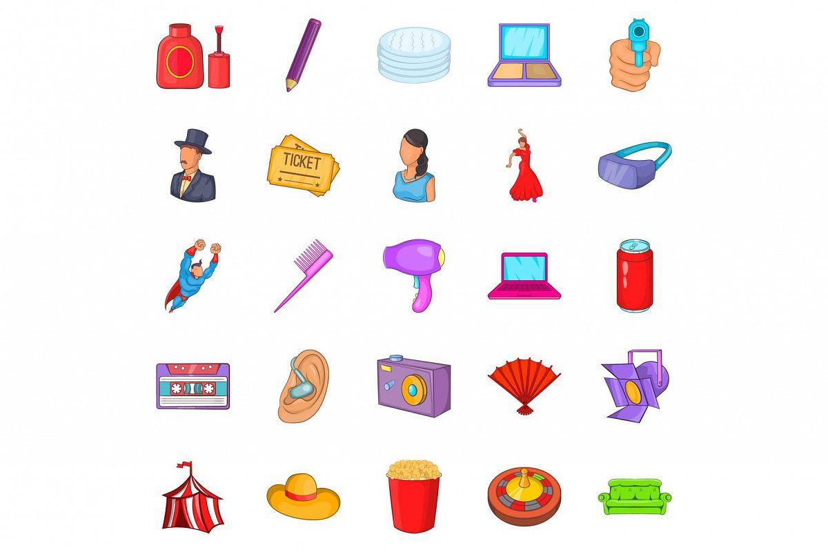 Screen icons set, cartoon style example image 1