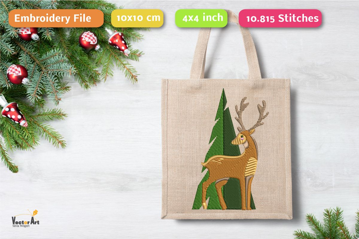 Deer with tree - Embroidery File - 4x4 inch example image 1