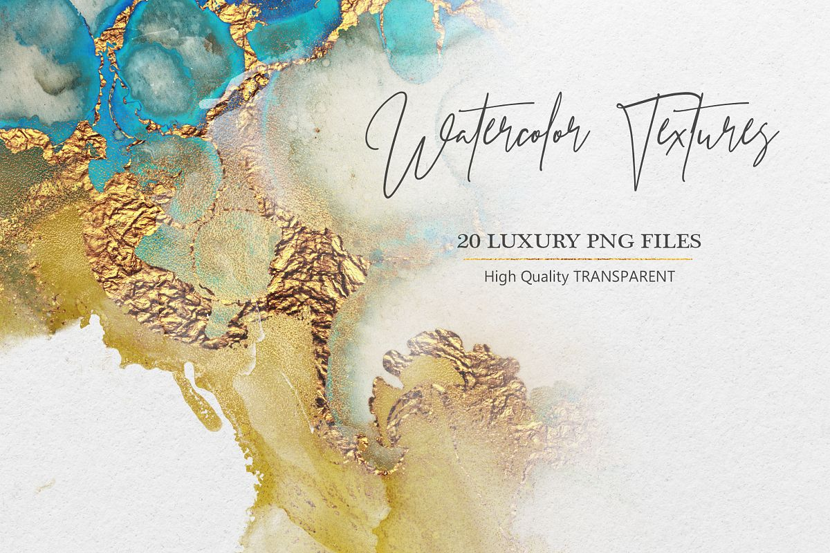 Watercolor PNG Gold Textures example image 1