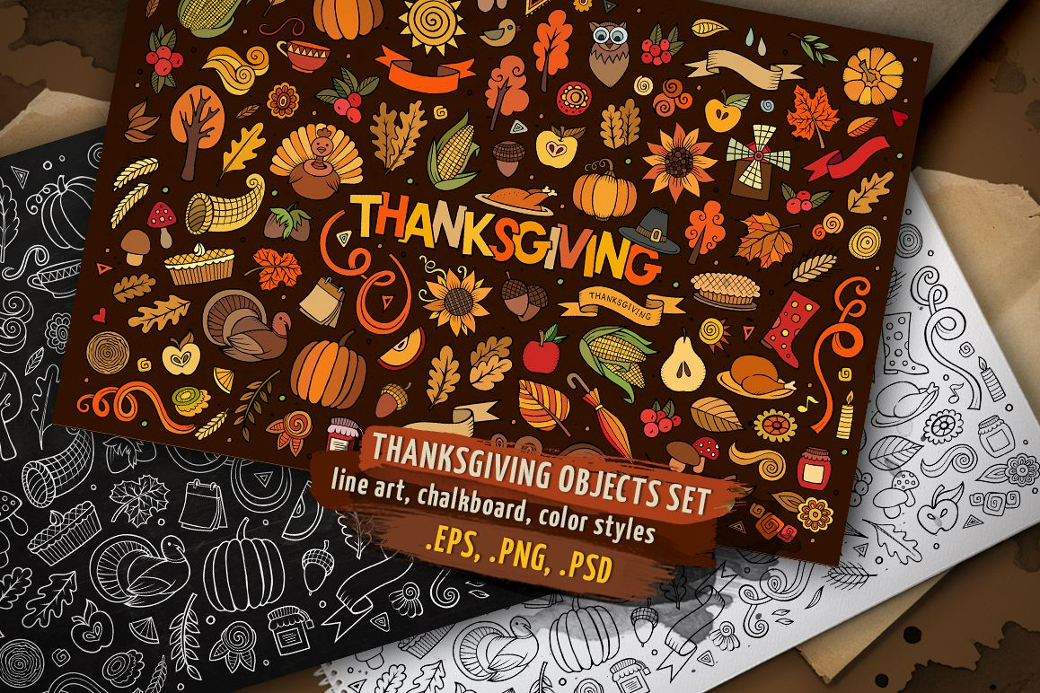 Thanksgiving Objects & Elements Set example image 1