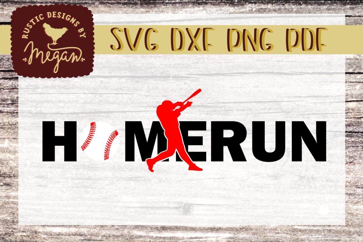 Homerun Baseball Softball SVG DXF example image 1