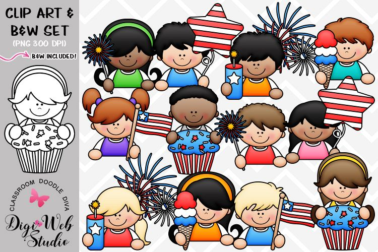 Clip Art / Illustrations - 4th of July Topper Kids example image 1