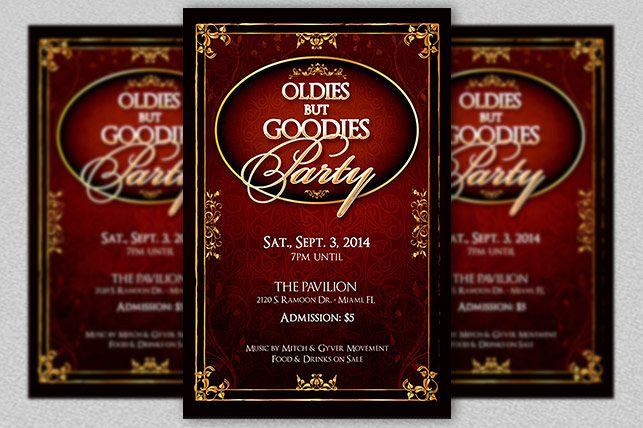 Oldies Goodies Party Flyer Template example image 1