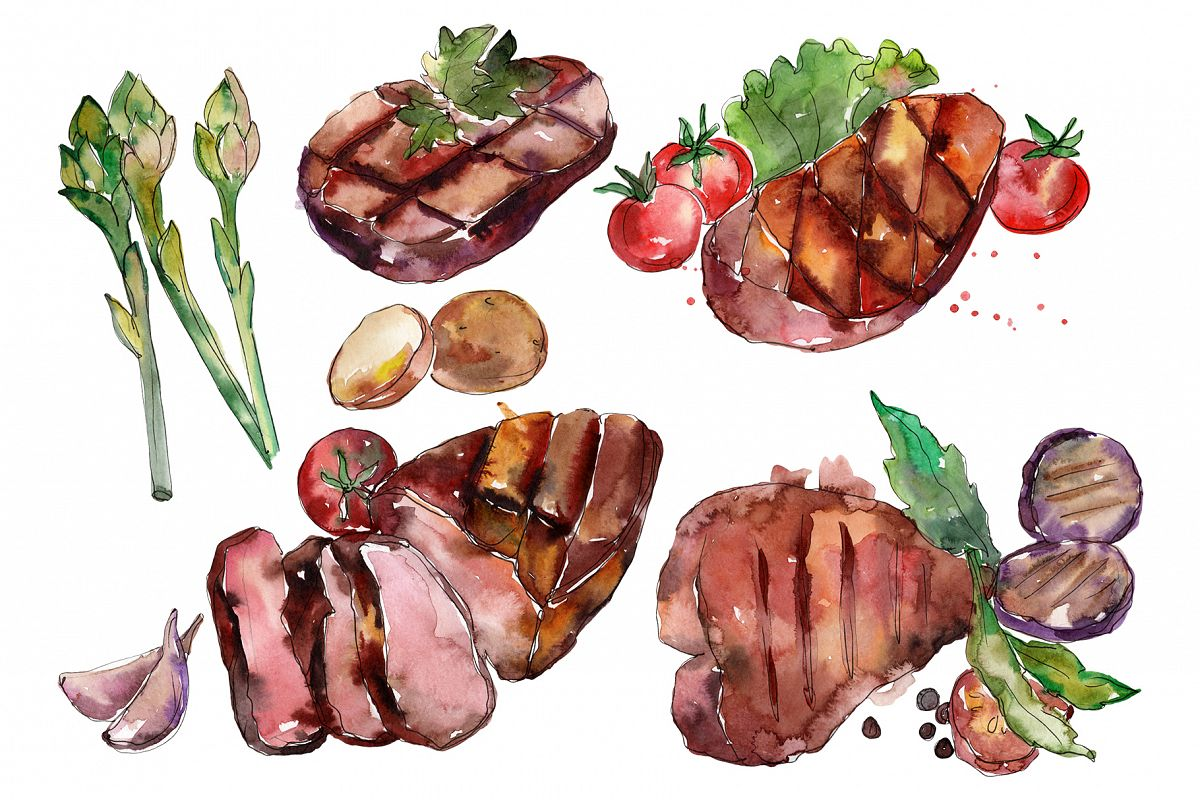 Steak Watercolor png example image 1