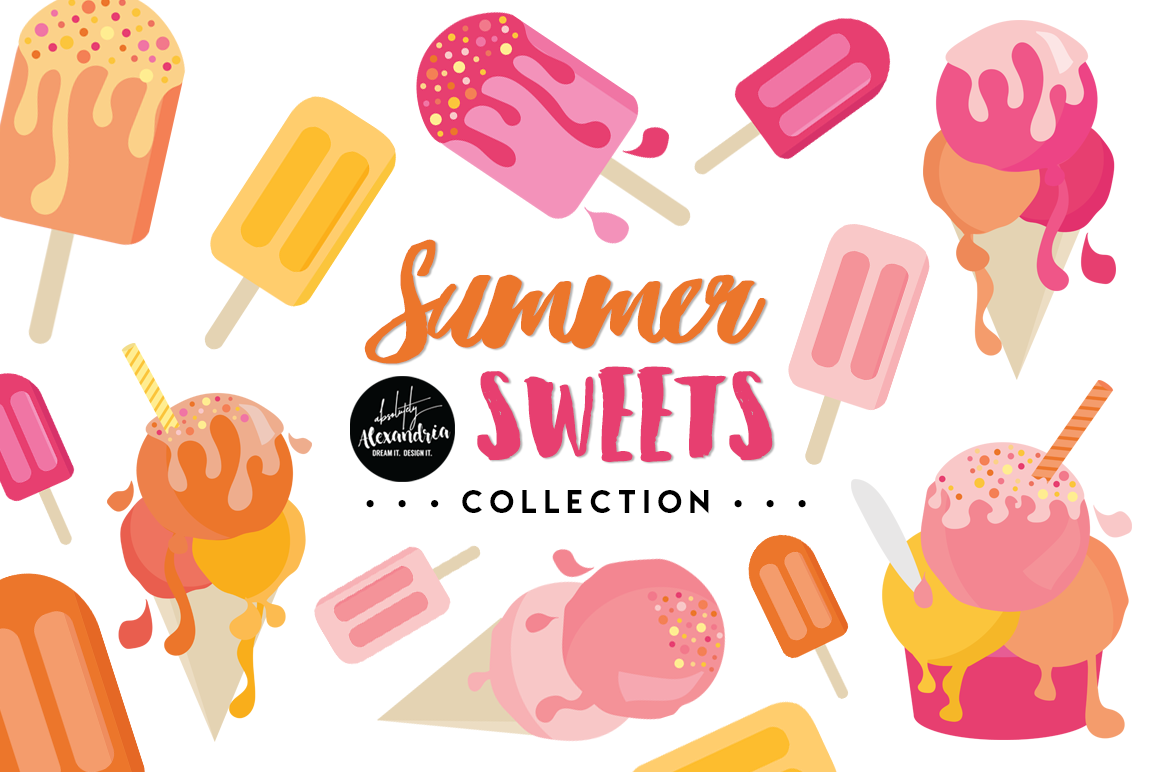 Summer Sweets Clipart Graphics & Digital Paper Patterns Bundle example image 1