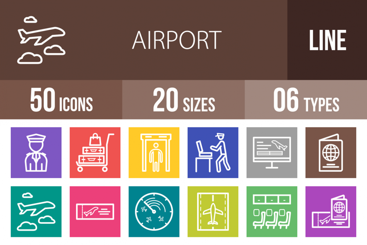 50 Airport Line Multicolor B/G Icons example image 1
