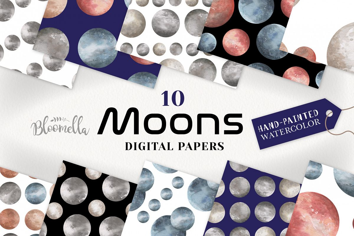 Moon Seamless Patterns Digital Papers Space Galaxy example image 1