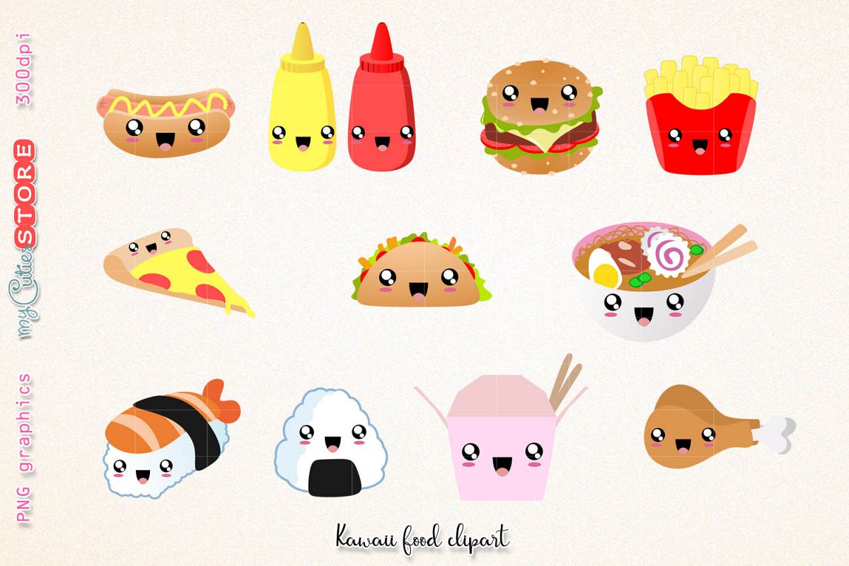 Fast food clipart, cute kawaii dinner clipart and digital stamps  png  graphics clip art set for planner stickers, scraps or digital planning