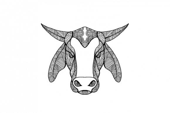 Brahma Bull Head Mandala example image 1