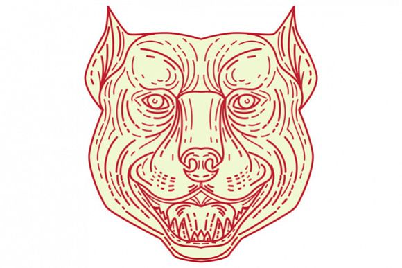 Pitbull Dog Mongrel Head Mono Line example image 1