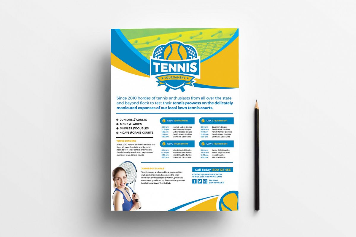 A4 Tennis Tournament Poster Template example image 1