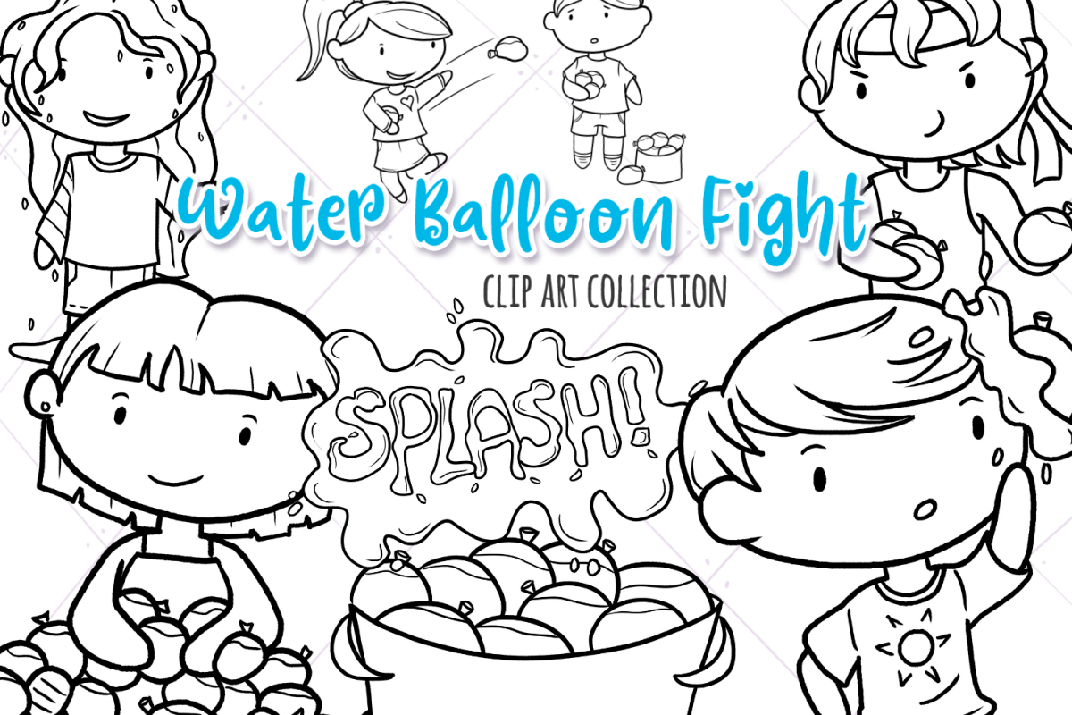 Water Balloon Fight Digital Stamps example image 1
