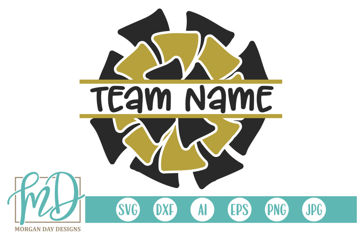 Split Pom Pom - Cheer SVG, DXF, AI, EPS, PNG, JPEG example image 1