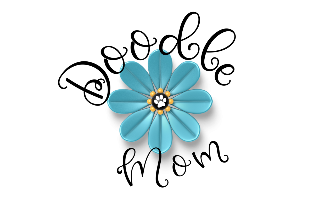 Doodle Mom With Blue Flower Dog Paw PNG Transparent example image 1