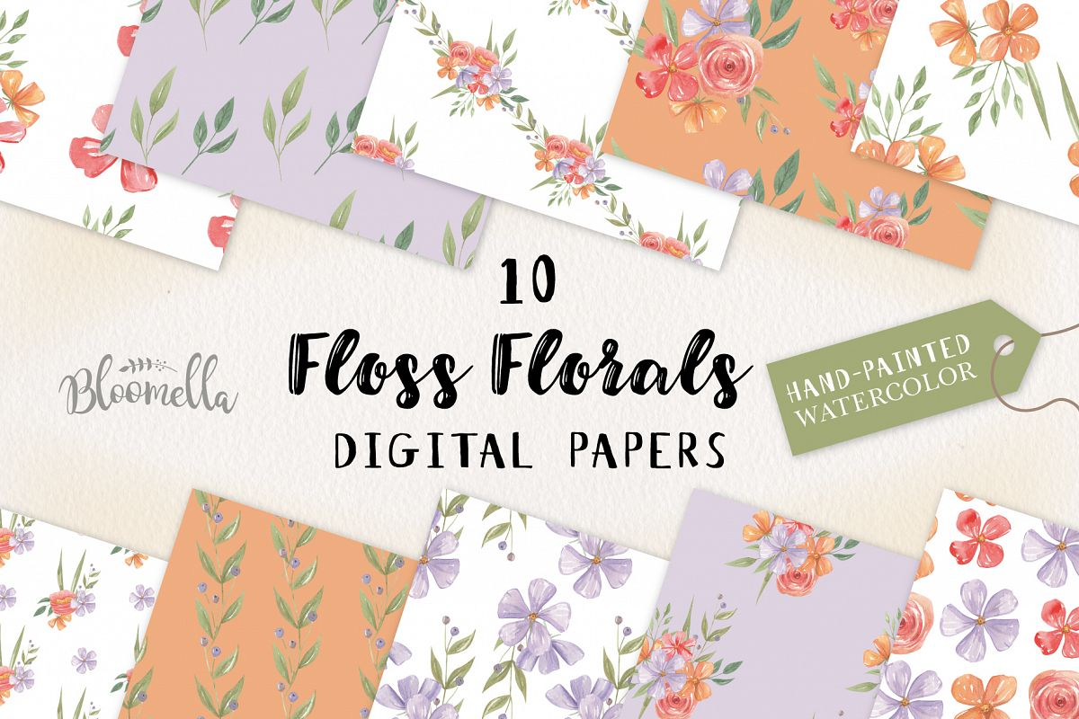 Floss Florals 10 Seamless Patterns Digital Papers Pretty example image 1