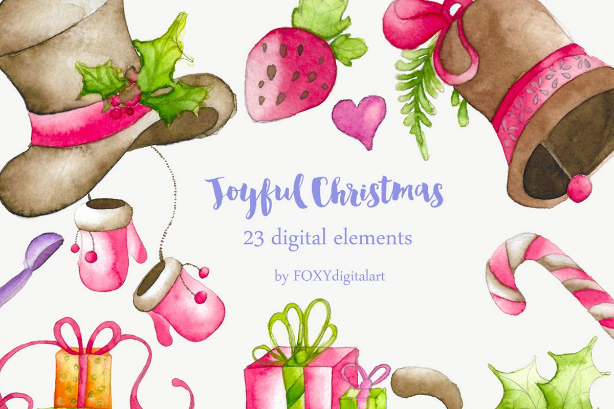 Christmas Holiday Clipart.Watercolor Christmas Holiday Winter Clipart