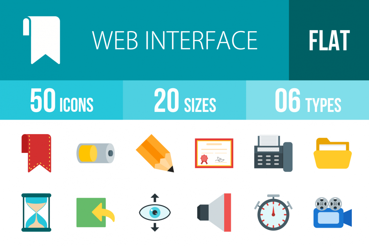 50 Web Interface Flat Multicolor Icons example image 1