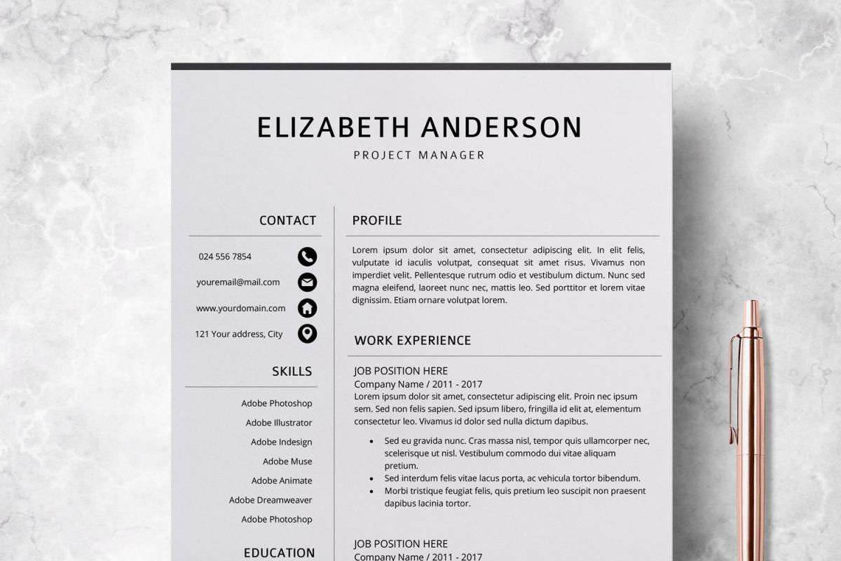 Resume Template | CV Cover Letter - Elizabeth Anderson