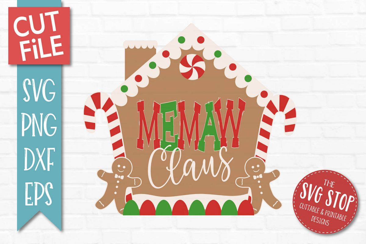 Memaw Claus Gingerbread Christmas SVG, PNG, DXF, EPS example image 1
