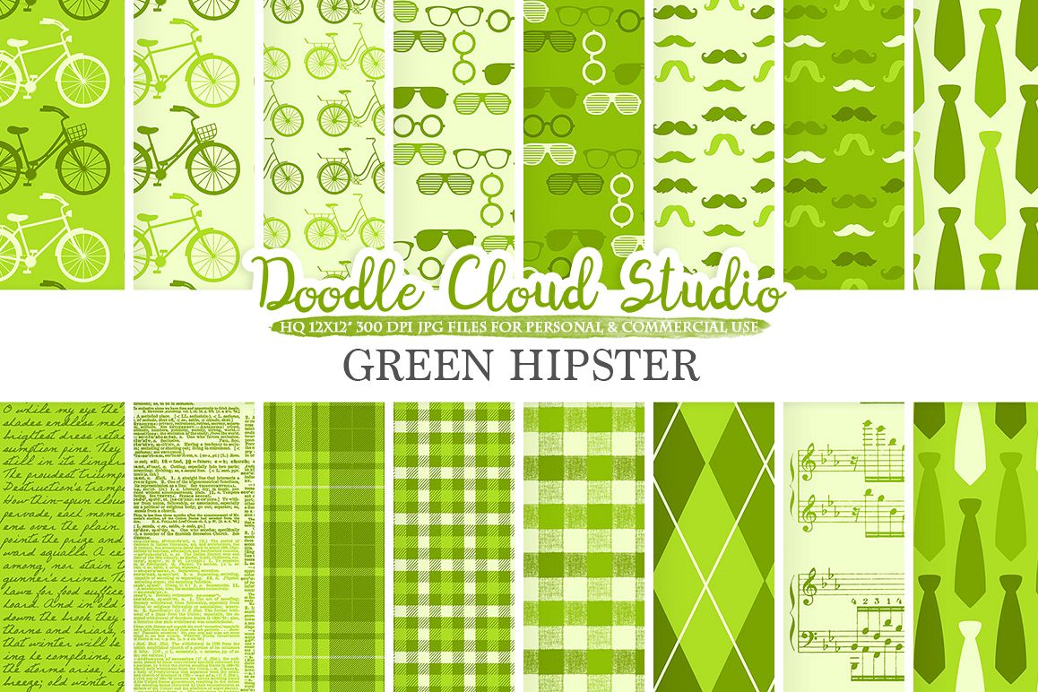Green Hipster digital paper, Vintage Father's day tie mustaches bikes music glasses plaid pattern Instant Download Personal & Commercial Use example image 1
