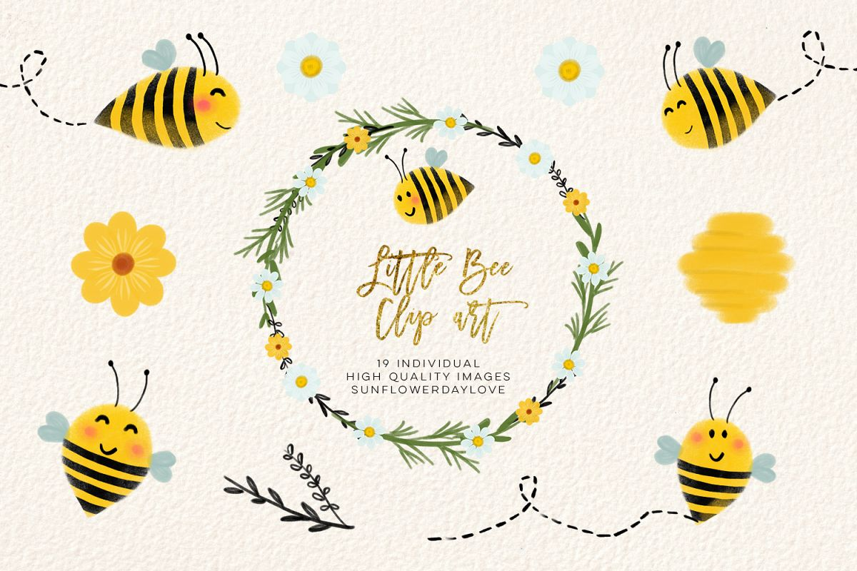 bee clip art, bees illustration, Honey bee clipart example image 1