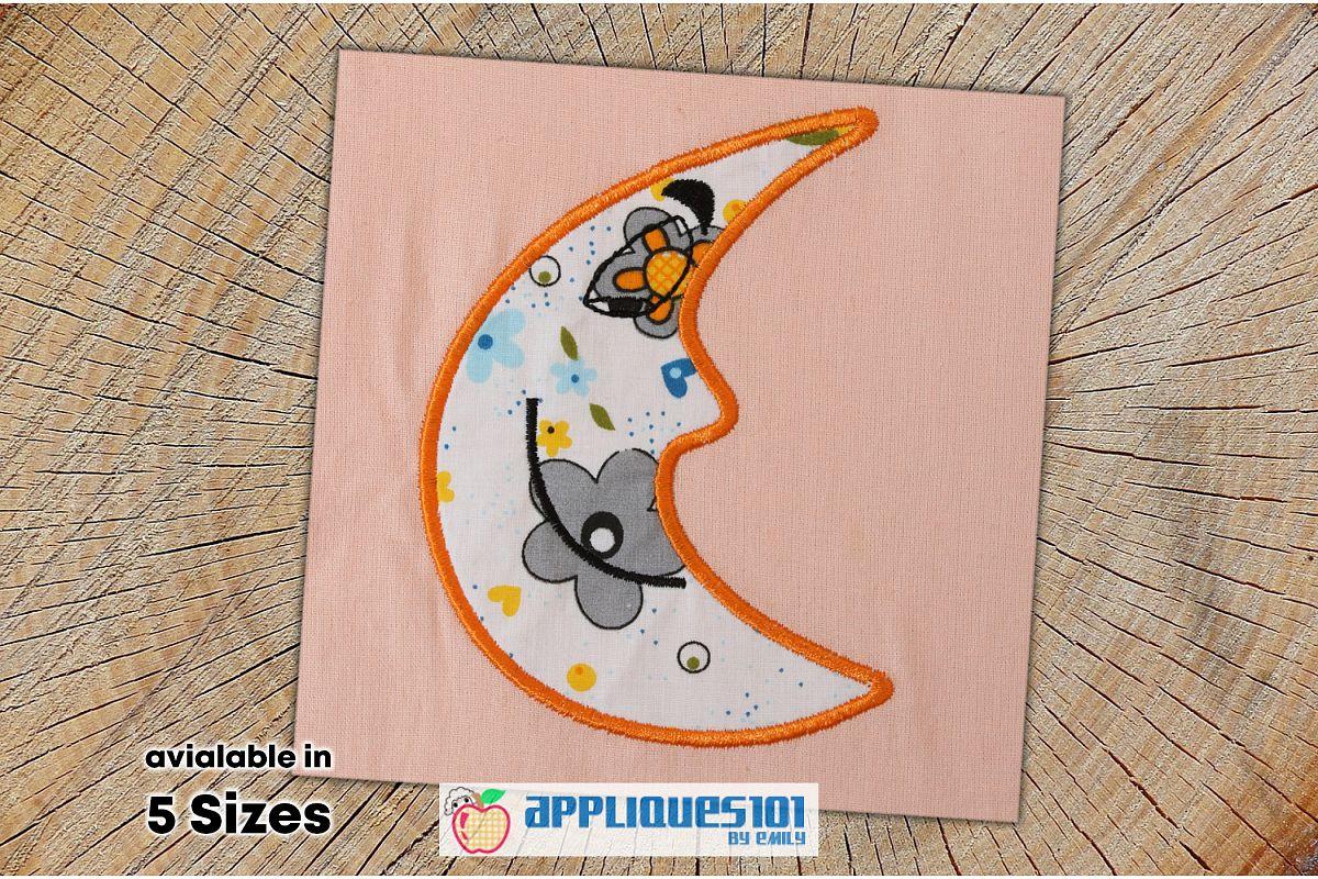Moon Face Embroidery Applique Design - Moon example image 1