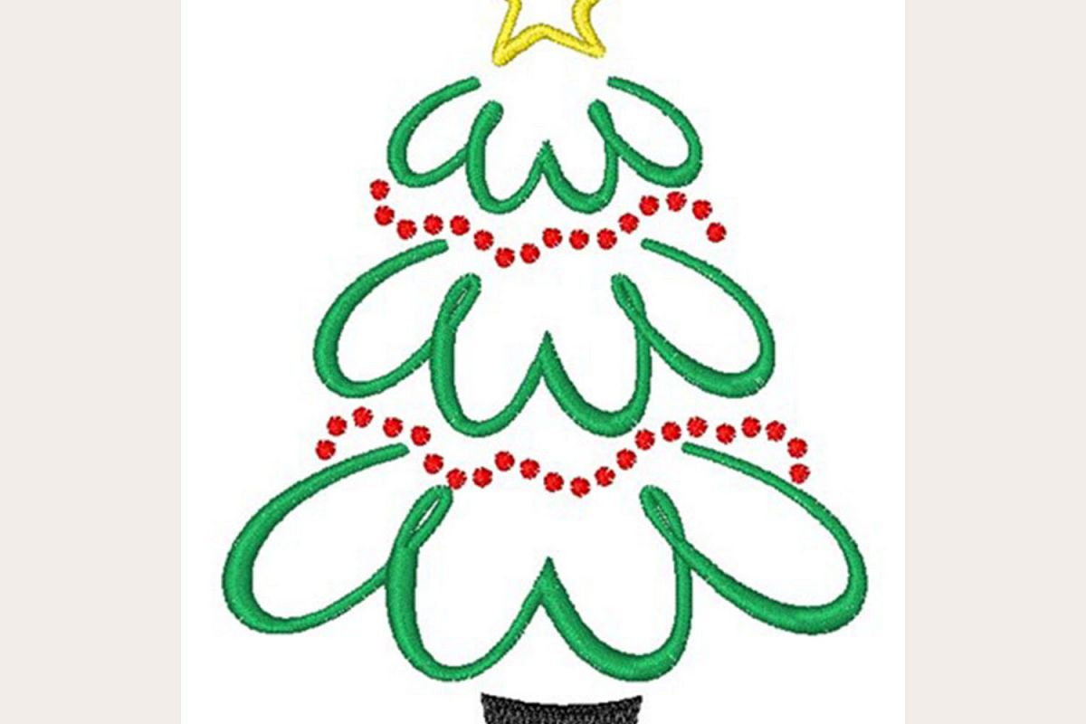 Christmas Tree Outline - Machine Embroidery Design example image 1