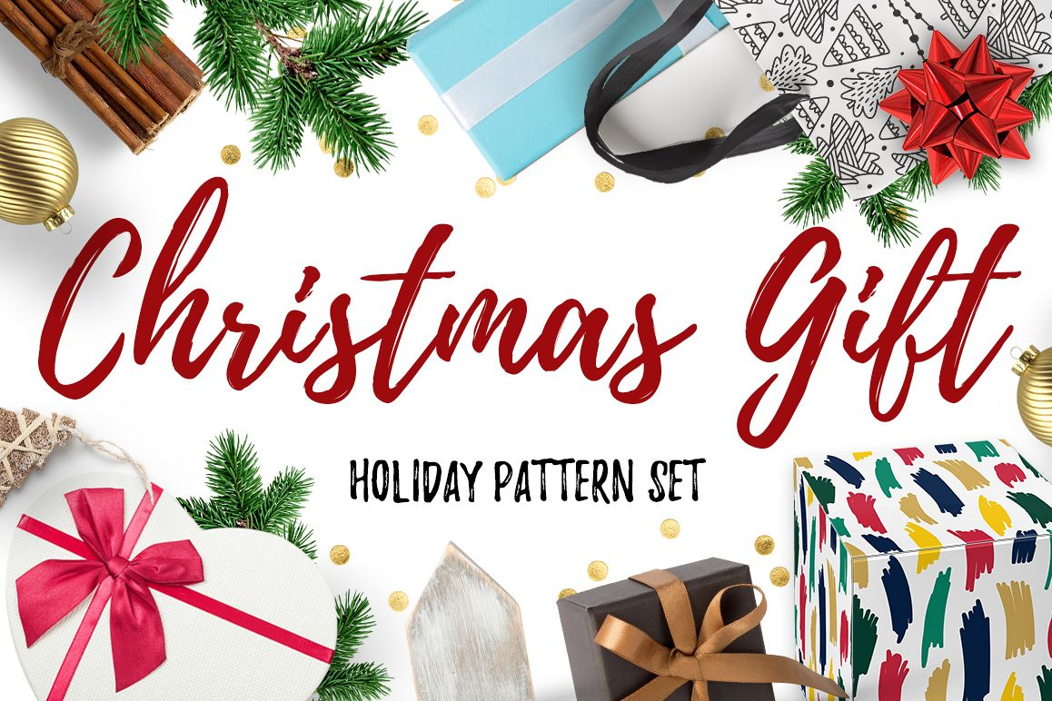 Christmas Gift Holiday Pattern Set example image 1