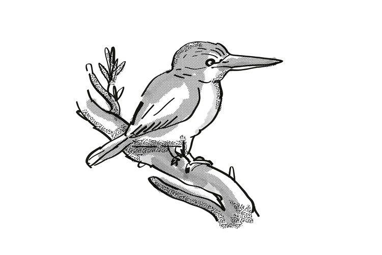 kingfisher New Zealand Bird Cartoon Retro Drawing example image 1