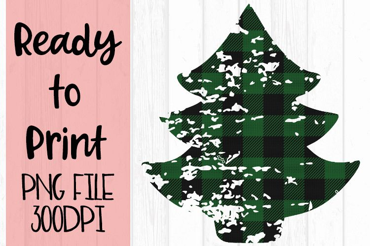 Green Buffalo Plaid Tree Ready to Print example image 1