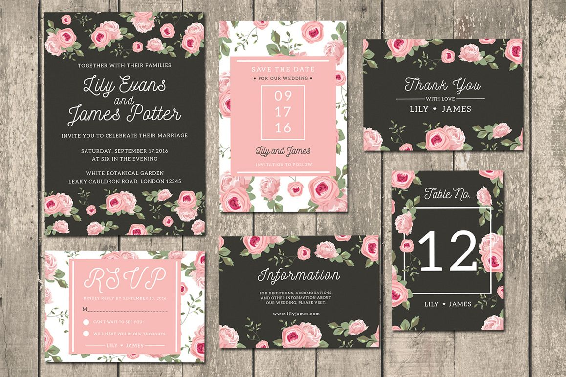 Floral Wedding Invitation Suite example image 1