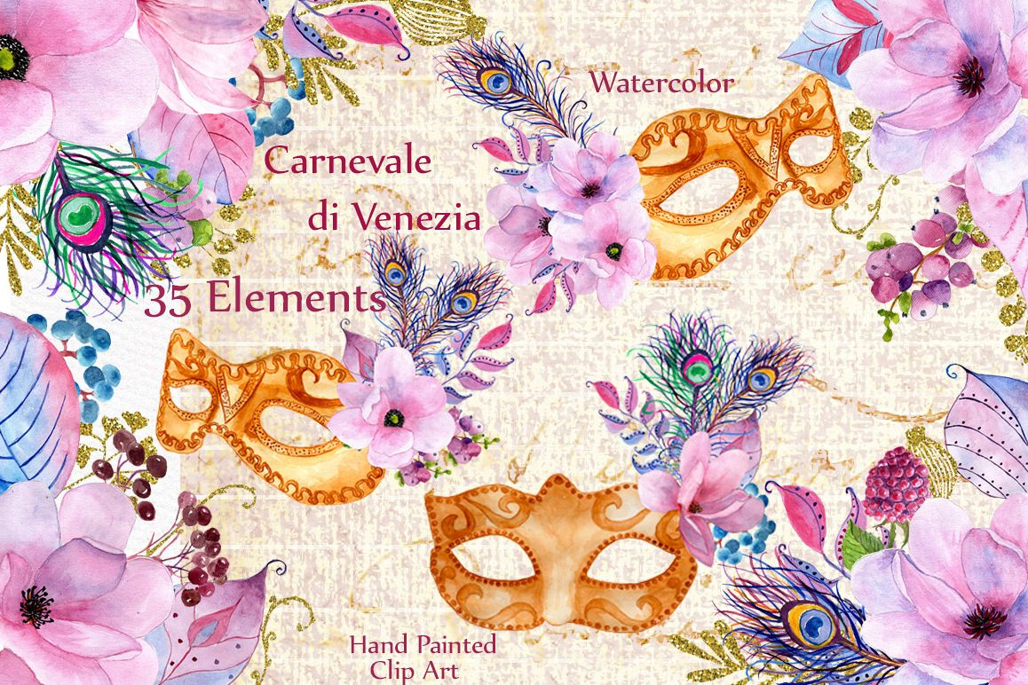 Watercolor masks and flowers clipart example image 1