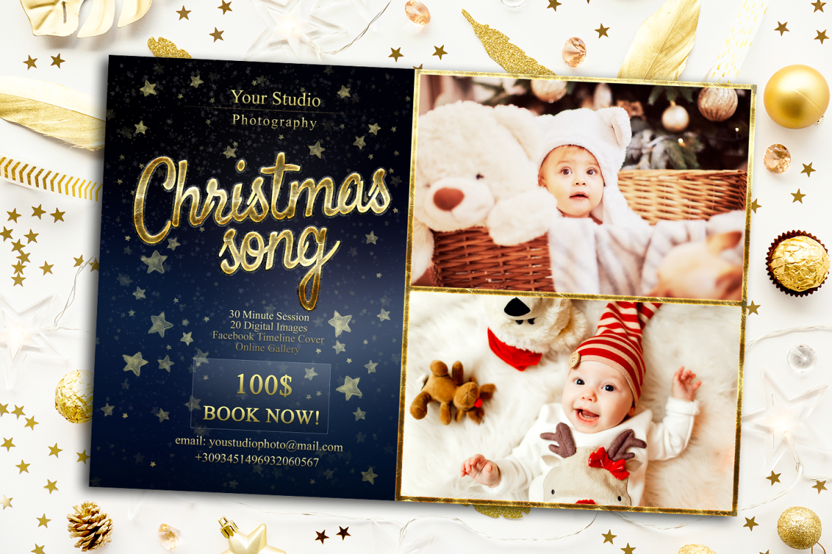 Christmas Mini Session Template Facebook timeline example image 1