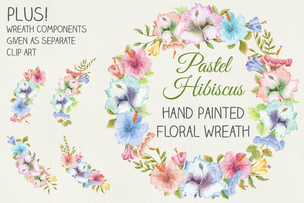 Wreath of Hibiscus flowers in pastel shades example image 1