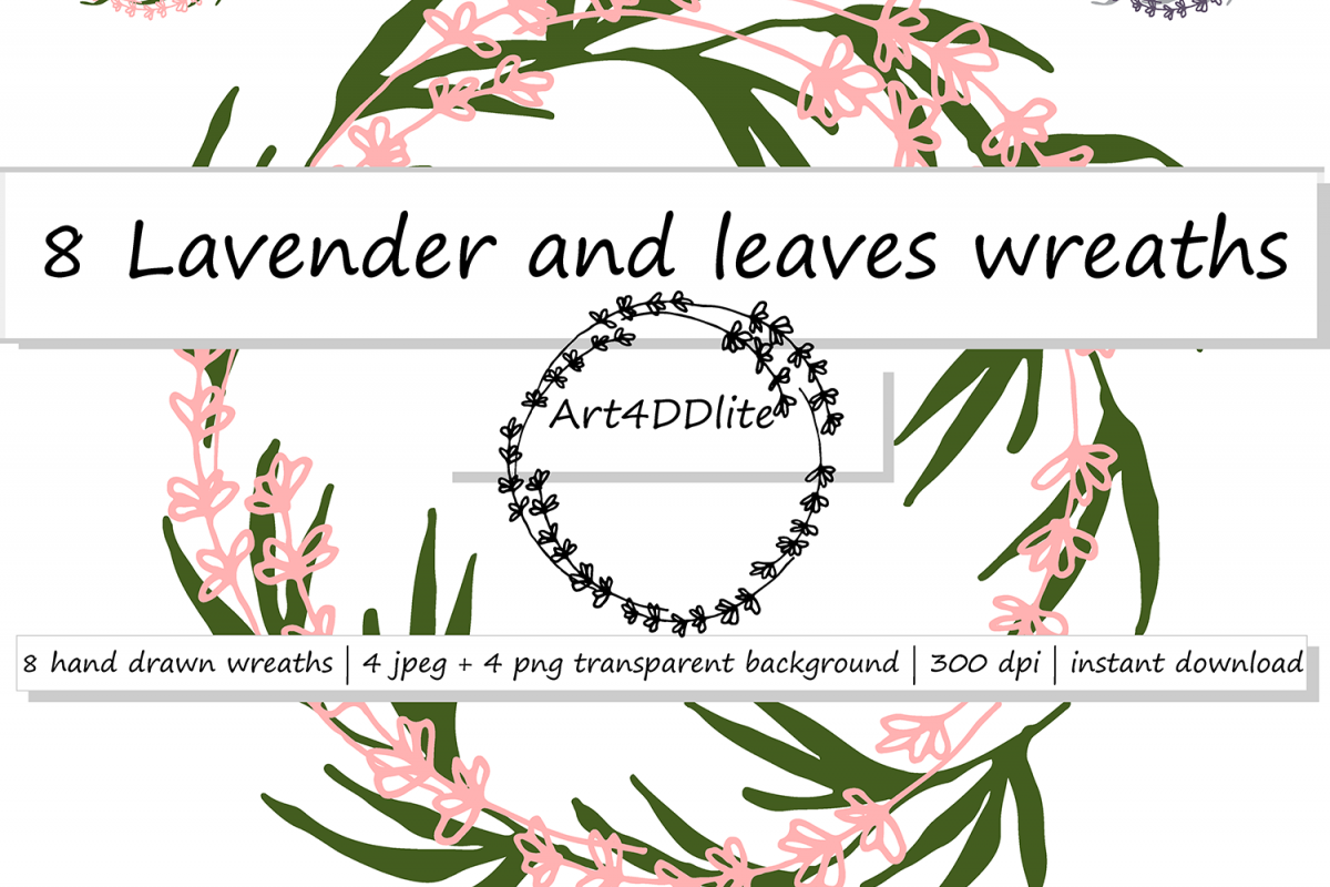 8 Lavender and Leaves Wreaths  example image 1