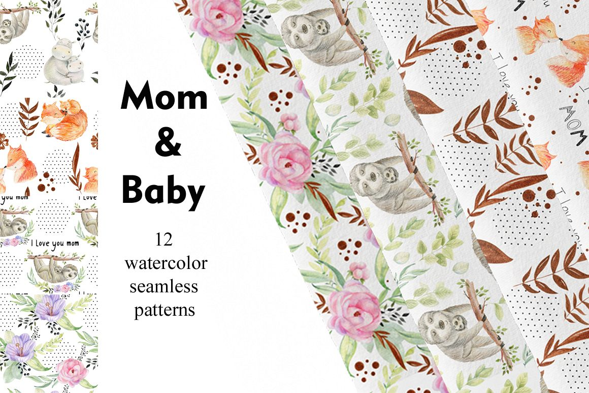 Mom and Baby. Watercolor seamless patterns. example image 1