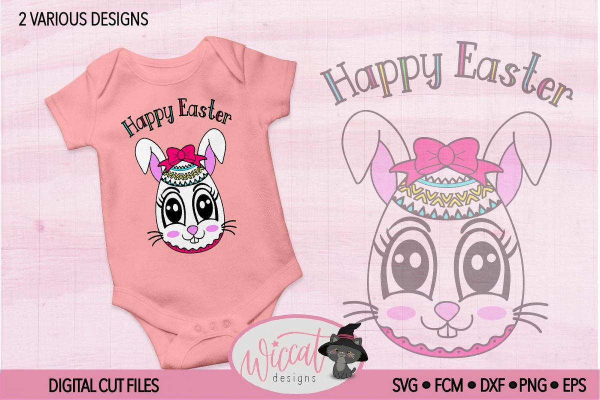 Easter egg with Bunny face svg, Girl bunny face svg cut file example image 1