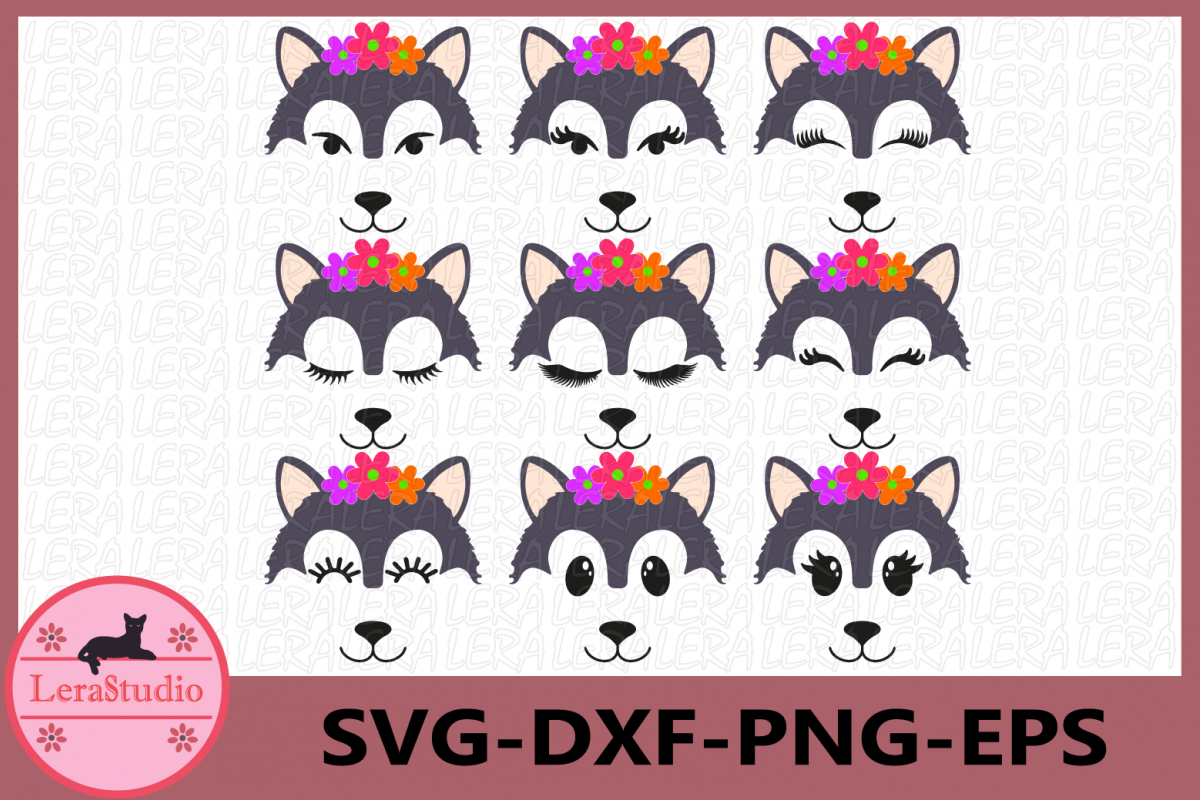 Wolf,Wolf Eyelashes Face Svg, Wolf Face SVG, Animal face svg example image 1