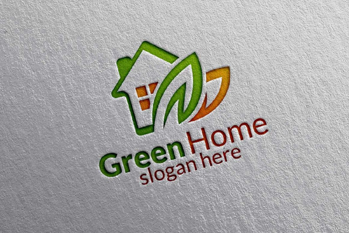 Real estate Logo, Green Home Logo 9 example image 1