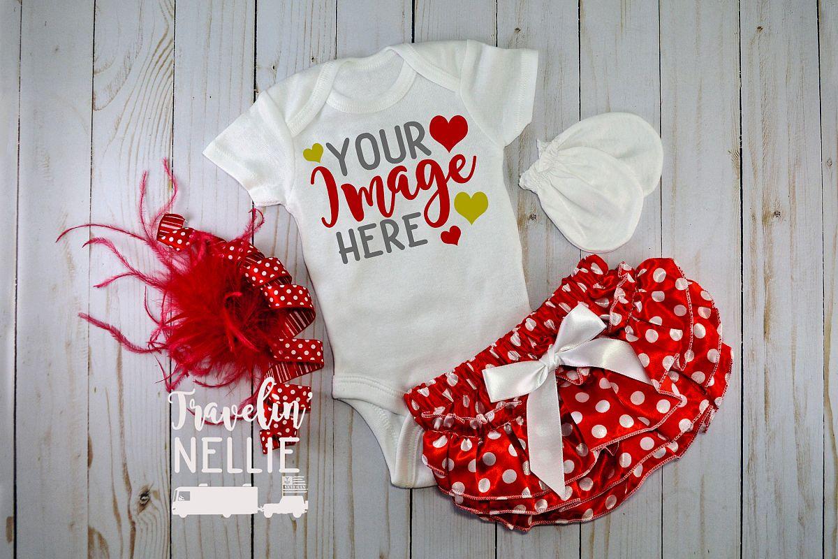 White Bodysuit Mockup Flat Lay Baby Infant Red White Holiday example image 1