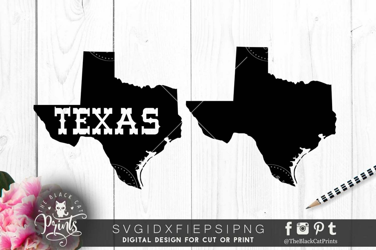 Texas map SVG PNG EPS DXF example image 1