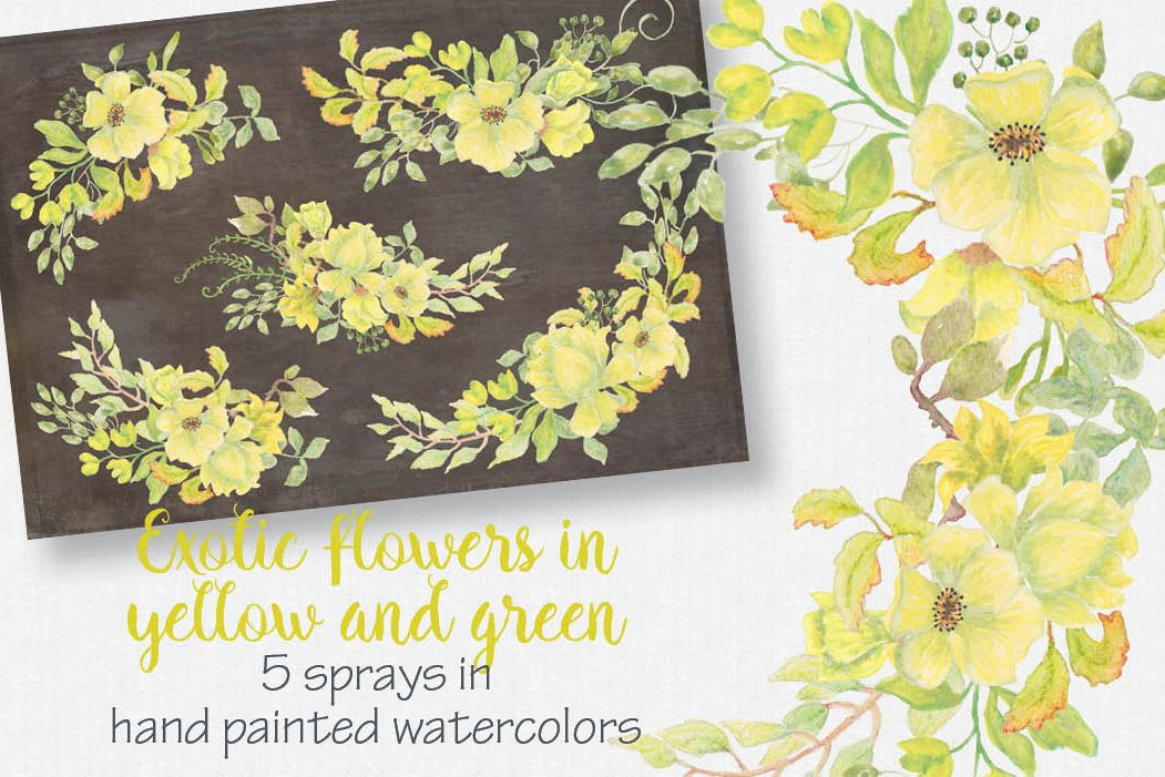 Exotic watercolor flowers: 5 sprays example image 1