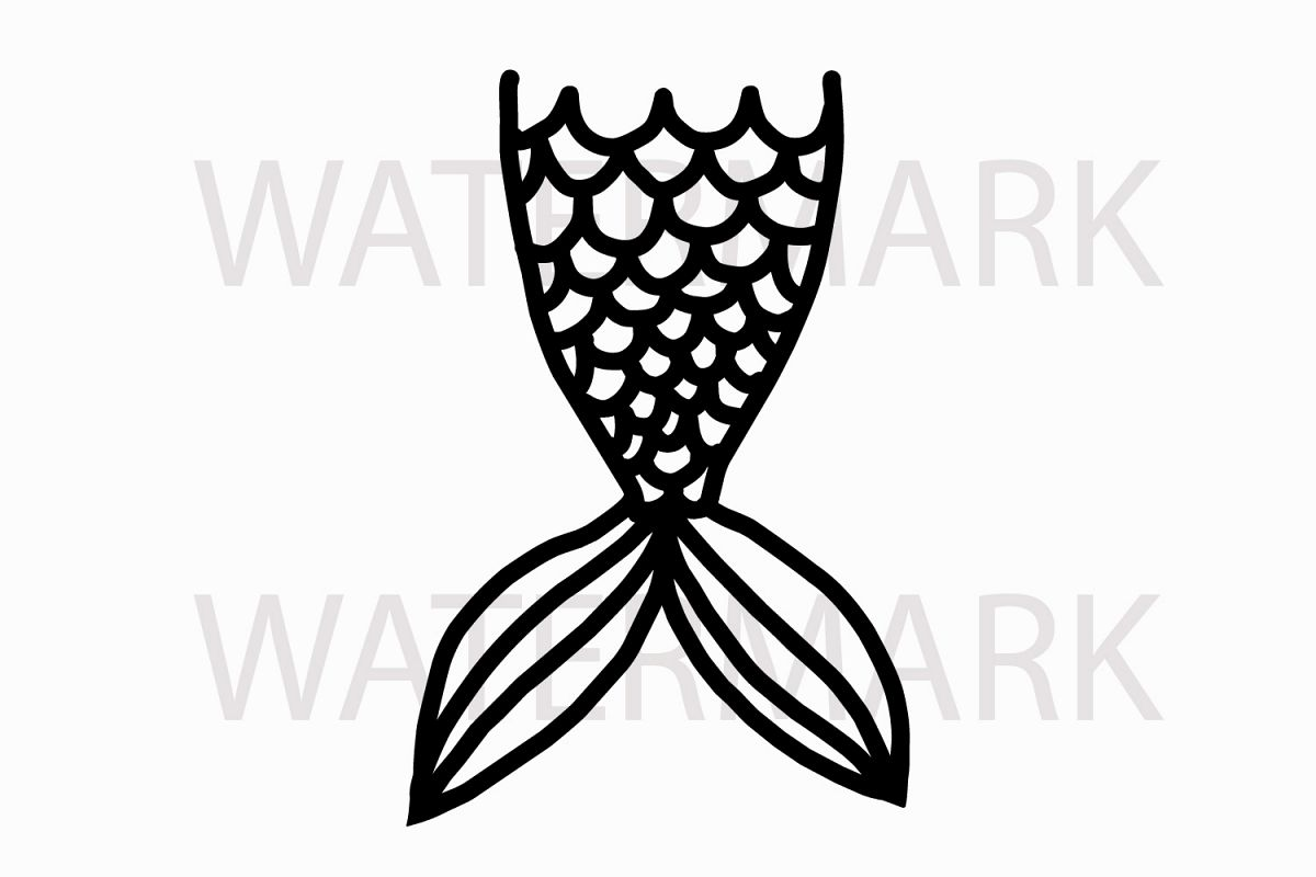 Just Outline Mermaid Tail   SVG/JPG/PNG Hand Drawing Example Image