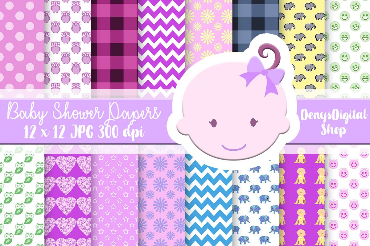 Baby Shower, Elephant Baby Shower, Baby Shower Papers,SALE example image 1