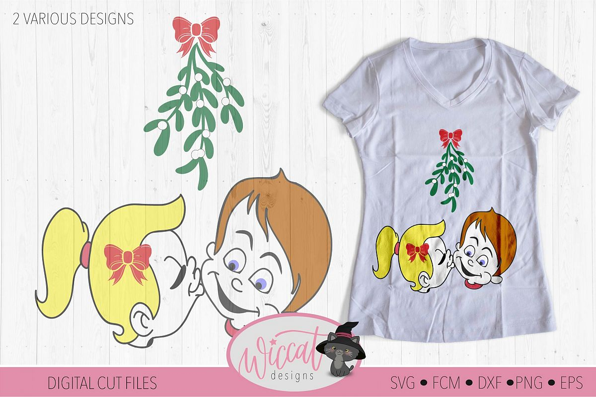 Mistletoe kisses, Girl and Boy mistletoe svg, Couple shirt example image 1