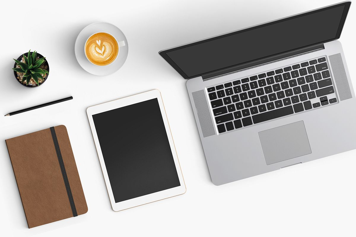 Modern workplace. Top view. Flat lay style. 4 example image 1