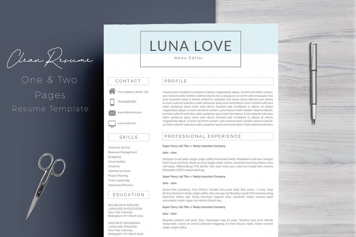 professional 4 pages resume template by design bundles