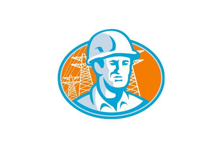 Construction Worker Engineer Pylons Retro example image 1